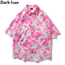 Dark Icon Tie Dyeing Street Shirts 2019 Men Summer Hawaii Turn-down Collar Loose Mens