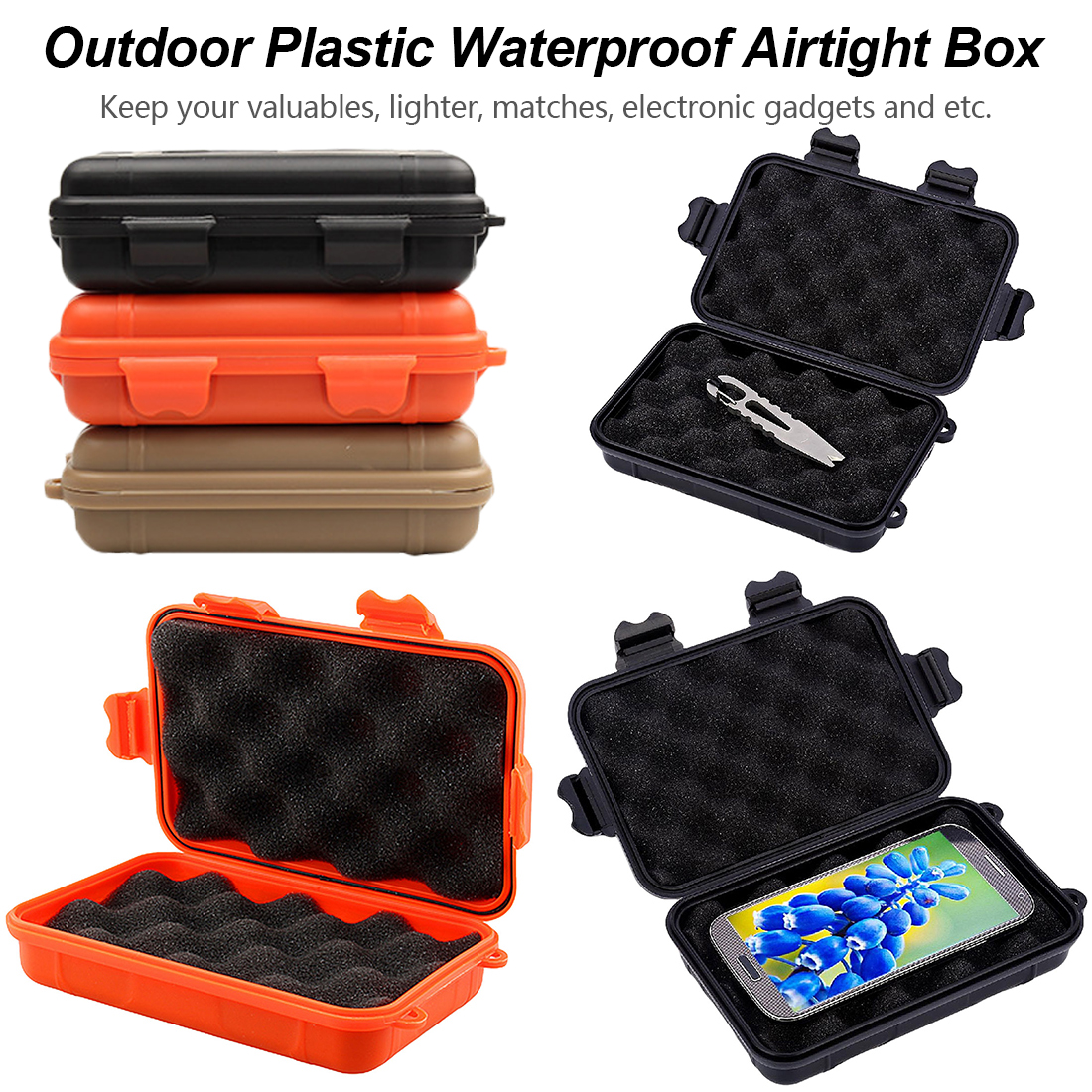 Shockproof Waterproof Camping Travel Container Carry Storage Box EDC Containers Outdoor Airtight Survival Storage Case