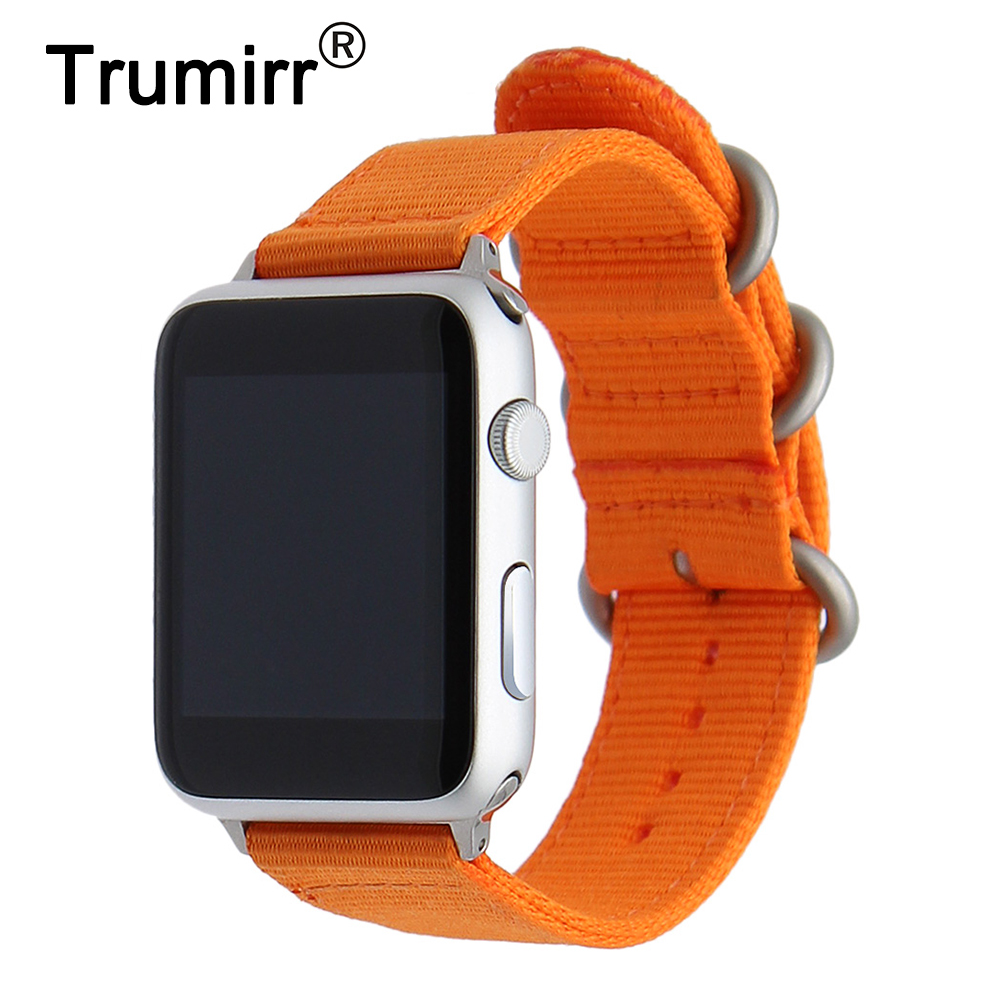 19b3b4f6521 Nylon Watchband for iWatch Apple Watch 38mm 42mm Zulu Band Fabric Strap  Wrist Belt Bracelet Black Blue Brown Green + Adapters-in Watchbands from  Watches on ...