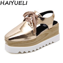 US $20.8 25% OFF|HAIYUELI Women Sandals Light Sole Platform Shoes PU Leather Slingback Wedge Flat Heel Creepers Oxfords Thick Bottom Casual Shoes-in Middle Heels from Shoes on Aliexpress.com | Alibaba Group