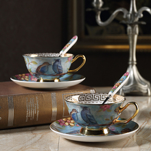 Pastoral style bone china coffee cup teacup set European bone china coffee cup creative retro gold rim cup and saucer set купить недорого в Москве
