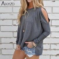 AKYZO Fashion Design Slit Sleeve Cold Shoulder Grey T Shirts Women Casual Summer Girl 2018 O