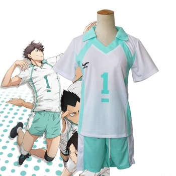 New Haikyuu!! Aoba Johsai High School Volleyball Club Jerseys Oikawa Tooru Sportswear Anime Cosplay Costume Shirts+Pants Outfit 1