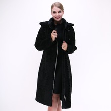 Factory direct supplier 100% real leather mink fur collar Sheep Shearing Women coat Real Fur long winter thick wholesale