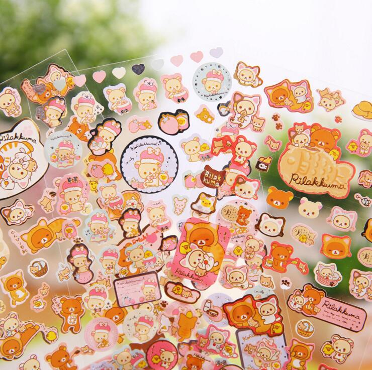 New Arrival Cute Cartoon Rilakkuma Bronzing Adhesive Stickers DIY Decorative Stickers Scrapbooking Stationery Stickers cow spots decorative stair stickers