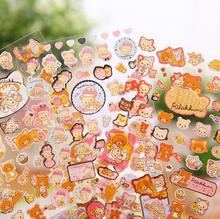 New Arrival Cute Cartoon Rilakkuma Bronzing Adhesive Stickers DIY Decorative Stickers Scrapbooking Stationery Stickers