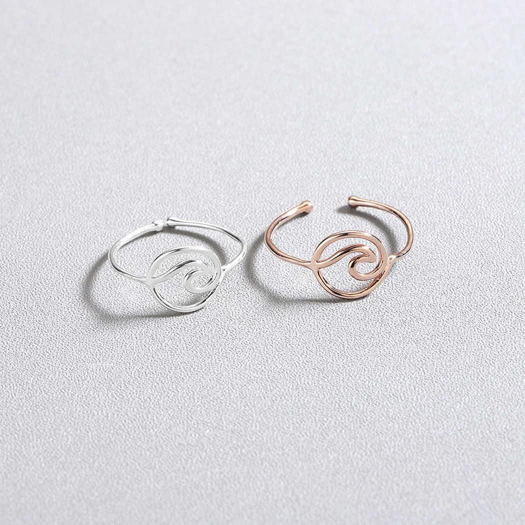 Cxwind Gold Wave แหวนเรียบง่ายลวด Surfer Knuckle Surf แหวน Minimalist Ocean แหวน bague femme