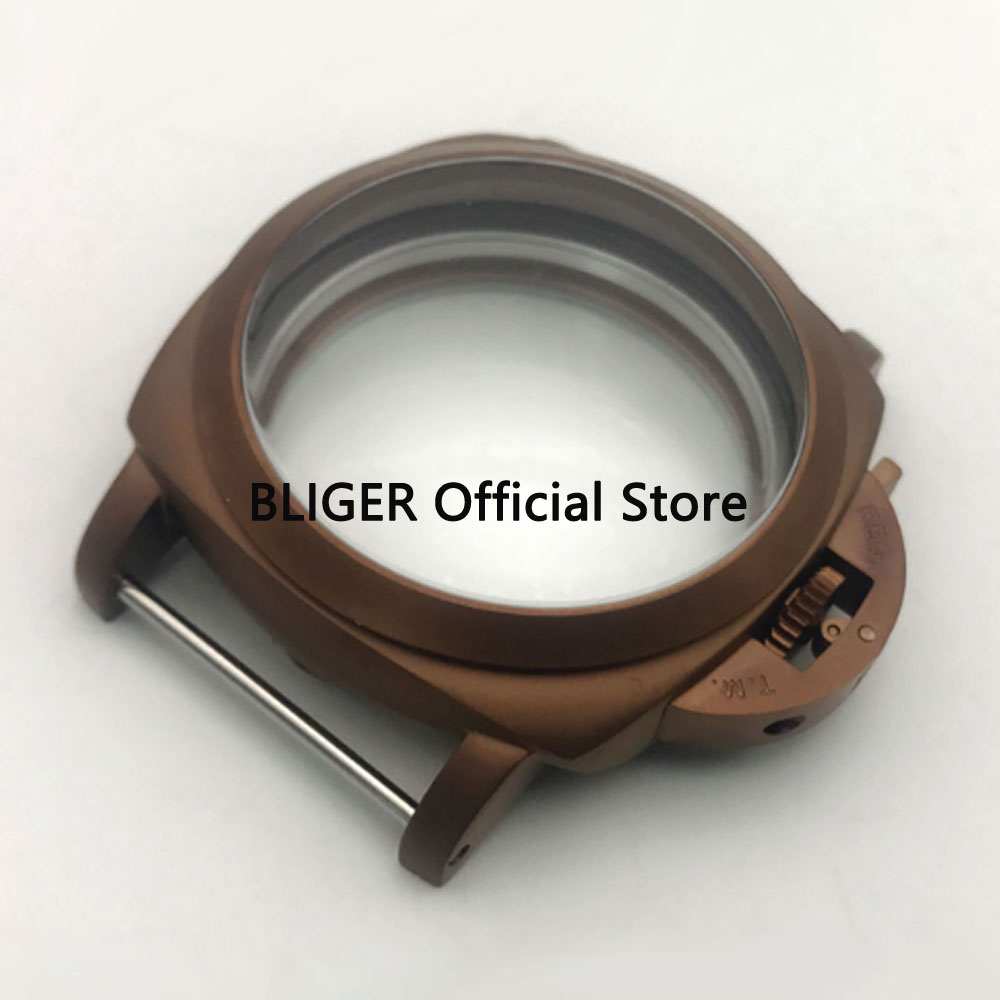 BLIGER 47MM Brushed 316L Stainless Steel Coffee Coated Watch Case Fit For ETA 6497 6498 ST 3600 3620 Hand Winding Movement BC78