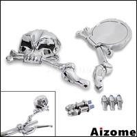 Motorcycle Chrome Rear View Mirror Skull Side Mirrors For Harley Honda Suzuki Yamaha Cruiser Vintage Road King Cafe Racer