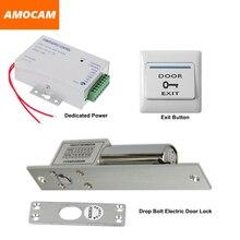 Electric Drop Bolt Door lock + Power Supply box for Door Access Control System Video doorbell +Door Exit Button Switch