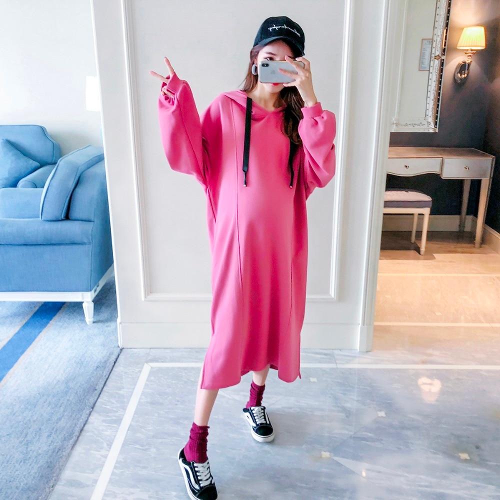 Femmes enceintes long pull 2018 nouvelle version coréenne de la robe de maternité à manches longues lâche mode cordon à capuche chemise