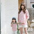 Детская одежда 2017 весной и летом детей с длинными рукавами хлопок цифровой мать и дочь мать цифровой S936