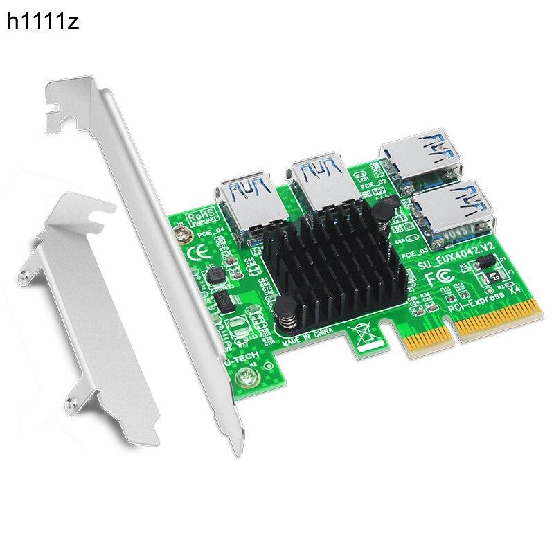 Porta do Adaptador de Riser Multiplicador para Btc 1 para 4 4x para 4 Express Placa Riser Usb 3.0 Pci-e Pcie Cartão Bitcoin Miner Mineração Novo Pci 16x