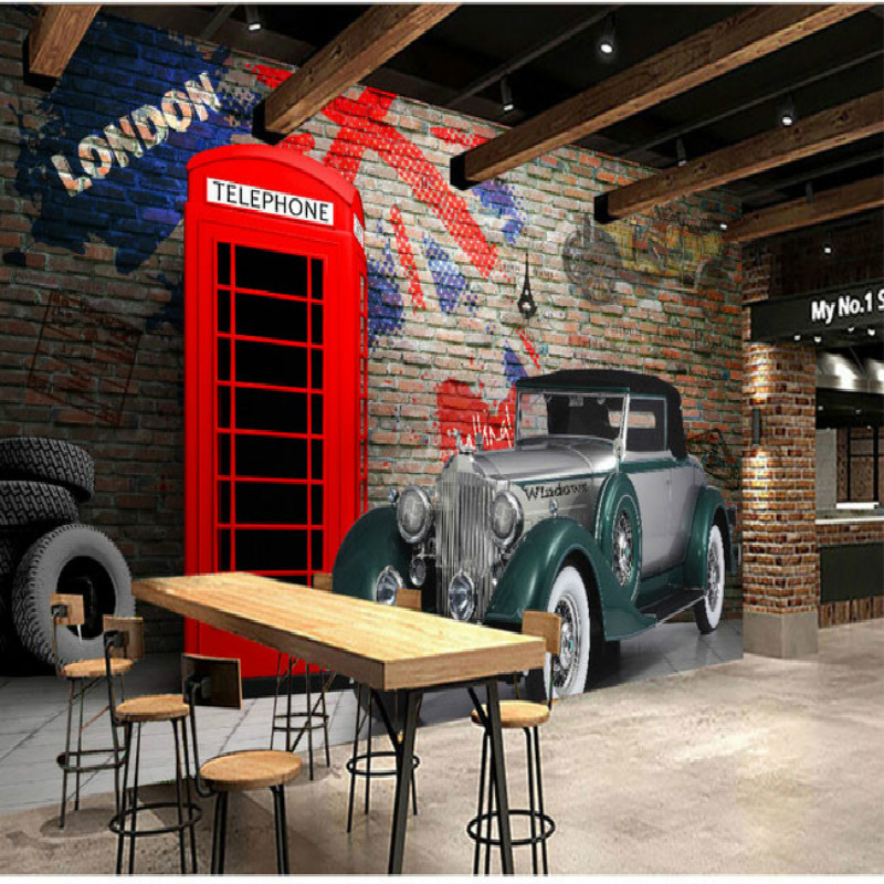 British phone booth vintage car landscape large mural wallpaper ...