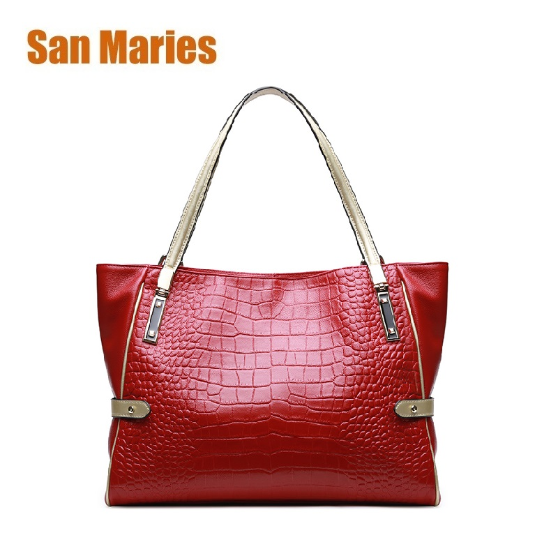 San Maries Authentic Women Bags 100% Genuine Leather Women Crocodile Handbags Vintage Large Totes Brand Bag Fashion Mother Bags san maries 100% genuine leather women handbags 2018 new arrival female korean fashion totes crossbody bag shoulder bags handbags