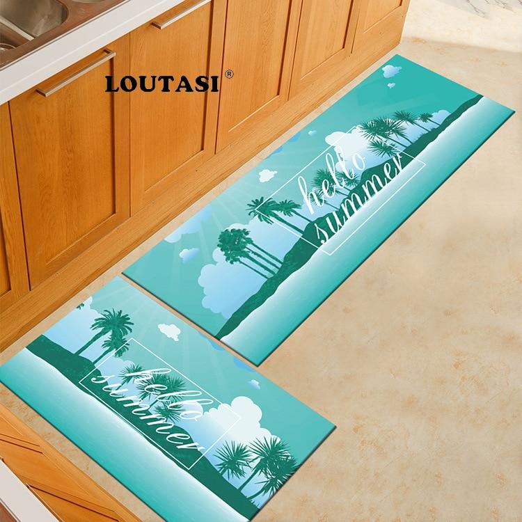 LOUTASI Flannel Hello Summer Pattern Doormat Soft Carpet Kitchen Floor Mat Anti Slip Entrance Area Rug Welcome Door Mat Outdoor