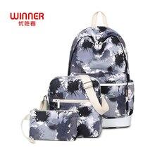 Победитель Новые 3 шт/комплект рюкзак Для женщин китайской тушью граффити печати Bookbags Школьные сумки для подростков Обувь для девочек Bagpack Обувь для мальчиков backbag