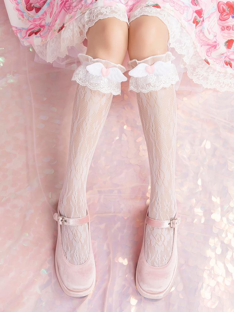 Princess Sweet Lolita Stockings Originally Angel Wings Love Lolita Girl Lace Stockings Breathable Animation Stockings WGR120
