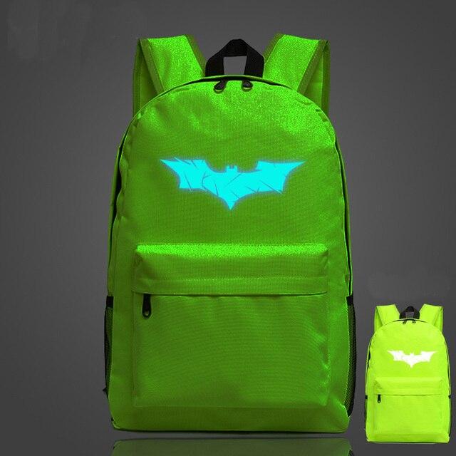 Batman fluorescent male female college students shoulder bag luminous backpack
