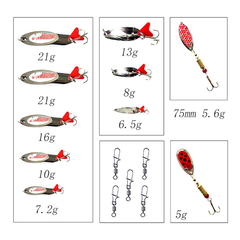 15pcs Sppon Mixed Suit Box 10pcs Spoon And 5pcs Swivel Solid Rings Hard Bait Fake Lure Fishing Tackles For Sea Fishing in Fishing Lures from Sports Entertainment