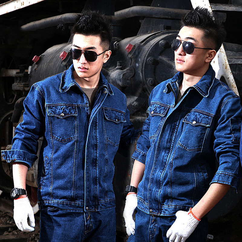 Welder's Workwear Suit Men's Thickened Welding Workwear Anti-ironing Labor Insurance Clothing Denim Wear-resistant Workplace Too