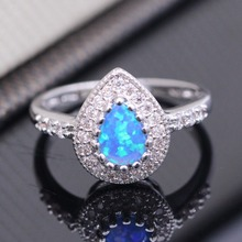 new White Blue Opal Water Drop Sultan Finger Ring Crystal Fo