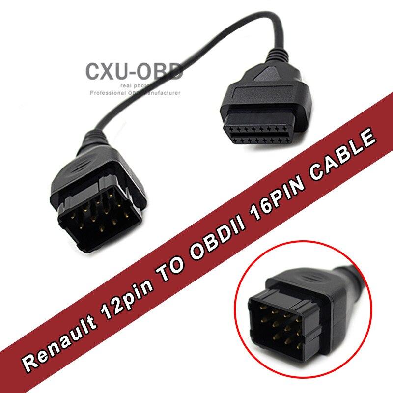Prix pour 12 Broches à 16 Broches OBD 12pin à OBD2 Diagnostique Femelle Adaptateur Connecteur Câble pour Renault