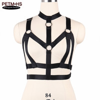 Womens Sexy Body Harness Lingerie Reflective Belt Elastic Black Strappy Tops Cage Bra Bondage Bustier Goth