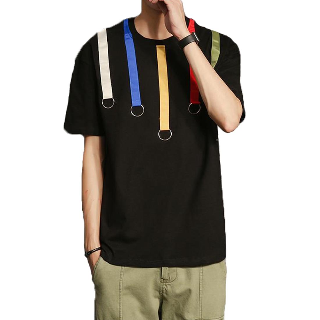Black t shirt white collar - Stylish Hip Hop T Shirt Men Round Collar Short Sleeve Summer T Shirt Belts Patchwork Plus Size Black White Tshirt Mens Pullovers