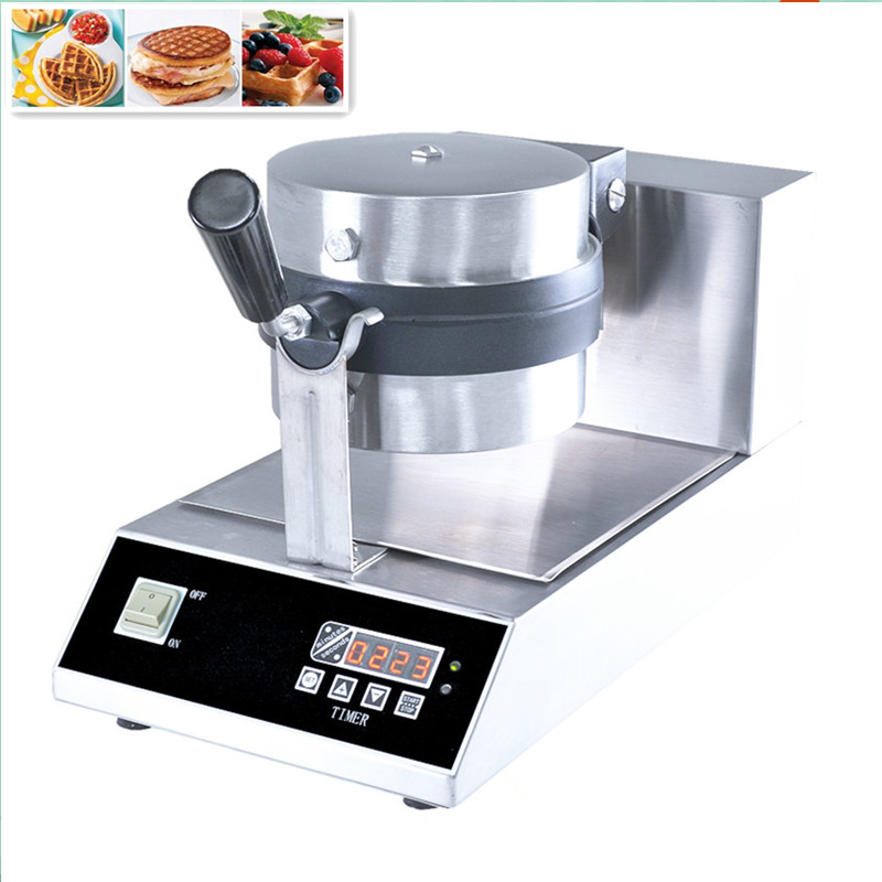 110V 220V Non-stick Commercial Waffle Maker LCD Electric Digital Rotary Belgian Waffle Iron Baker Waffle Machine Free Shipping one head rotary belgian waffle maker machine for commercial restaurant machinery wholesale