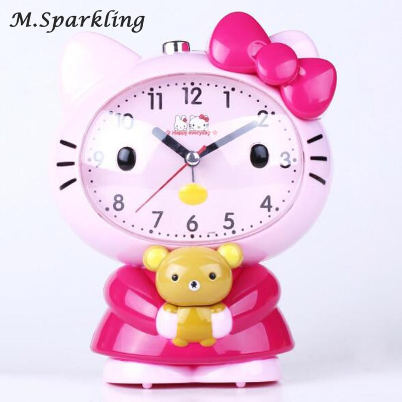 Creative fashion cartoon cat mute princess alarm clock night light dual tone Girl alarm clock Luminova Snooze Kids Alarm Clocks