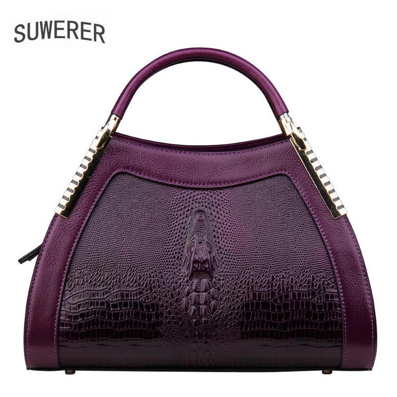 SUWERER 2018 New women bag top cowhide women Genuine Leather bags luxury Crocodile pattern designer superior Leather Art Bags suwerer women genuine leather bags 2018 new fashion handmade drawing plum flower top cowhide luxury designer women leather bags