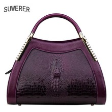 цена на SUWERER 2019 New women bag top cowhide women Genuine Leather bags luxury Crocodile pattern designer superior Leather Art Bags