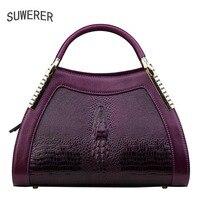 SUWERER 2019 New women bag top cowhide women Genuine Leather bags luxury Crocodile pattern designer superior Leather Art Bags