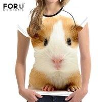 FORUDESIGNS Cute 3D Animal Guinea Pig Print Women T Shirt White Casual Female T Shirt Brand