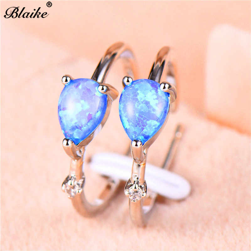 Blaike Blue/White Fire Opal Teadrop Hoop Earrings For Women 925 Silver/Rose Gold Filled CZ Birthstone Earring Wedding Jewelry