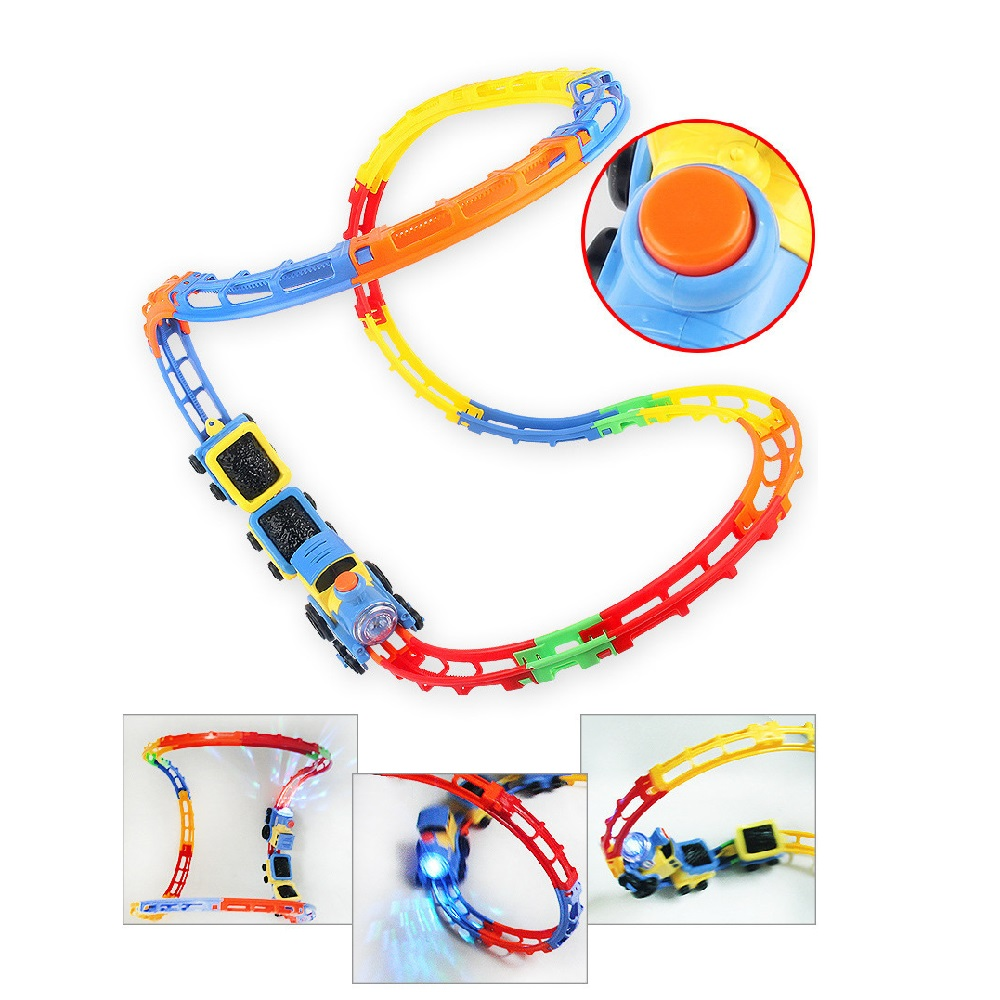 Rail Track Racing Train with Light and Music Popular Kids Toys Electric Track Battery Powered DIY Toy for Children Gift