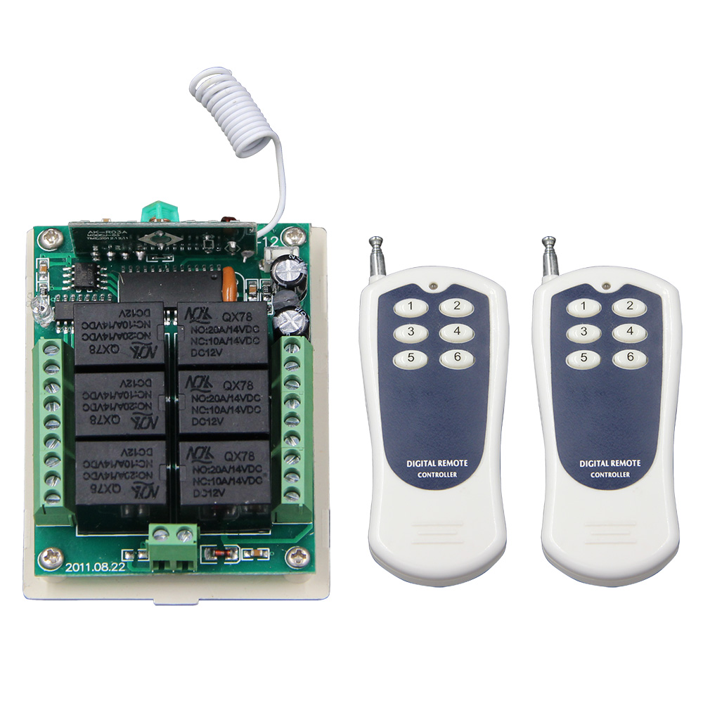 DC 12V 24V 6 CH 6CH RF Wireless Remote Control Switch System,2X Transmitter + Receiver,315/433.92 MHZ,Jog Seft-lock Inter-lock цена