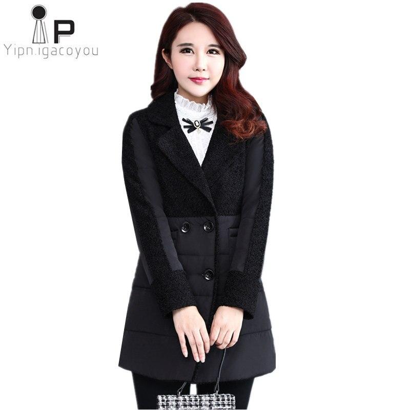 Long Winter Warm Jacket Women Coat 2018 Korean Harajuku Plus Size Black Double-breasted Female Coat Elegant Ladies Overcoat 6XL