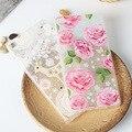 Para huawei p8 lite caso capa de silicone colorido rosa e padrões de renda com acabamento escovado para huawei p8 lite caso