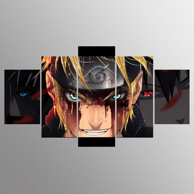 Tableau naruto 5 Affiches sur toile d coration de maison Cadre moderne 5 panneaux personnage Naruto Art mural de