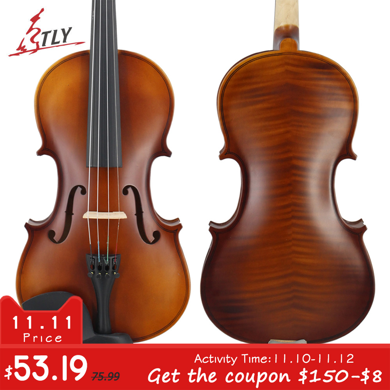 TONGLING Matte Finish Solid Wood Violin 4/4 3/4 1/4 1/8 Craft Stripe Violino for Kids Students Beginner Case Mute Bow Strings for kids w case mute bow strings students beginner acoustic violin oil varnish craft stripe solid wood violino violin 4 4 3 4