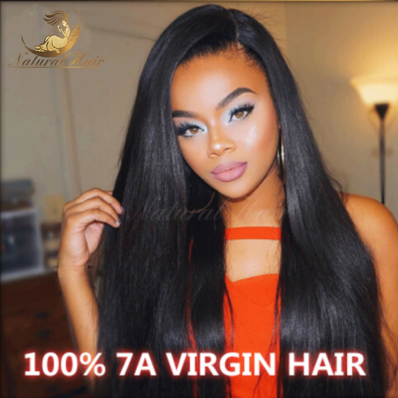 Brazilian Hair Straight Weave Remy Human Glueless Lace Front Wig For Black Women With Baby 130 Density In Wigs From