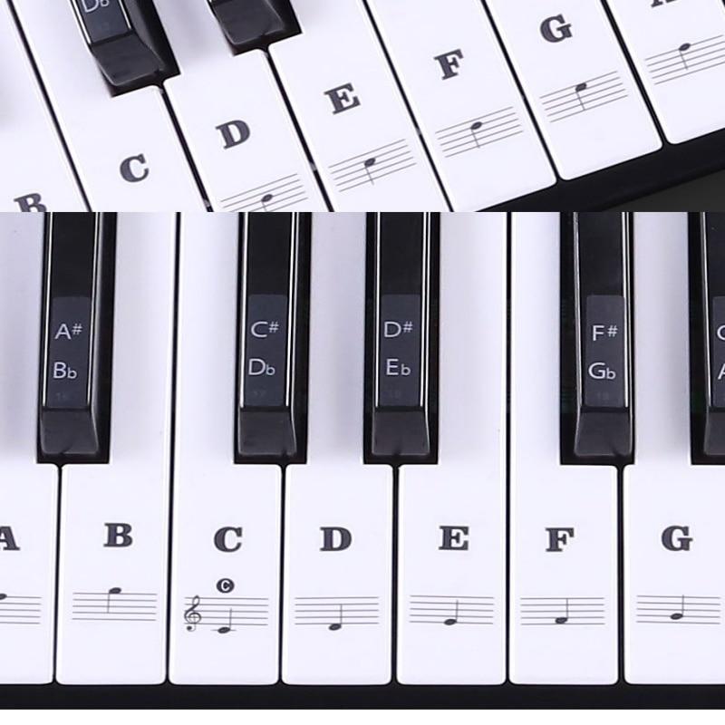 Piano Sticker Transparent Piano Keyboard Sticker 37/49/54 Key Electronic Keyboard 88 Key Piano Stave Note Sticker for White Keys sticker