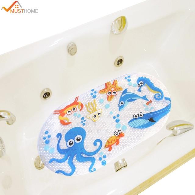 39cmx69cm Non Slip Kids Bath Mats for Shower Cartoon Octopus Design Bathtub Mat for Kids