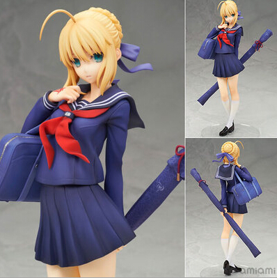 NEW Hot 20cm Fate Stay Night Saber Saber School Uniform Style Action Figure Toys Collection Christmas Toy Doll No Box