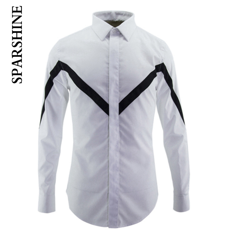 Patchwork Luxury Men Shirt Chemise Homme Design Mens Slim Long Sleeve Cotton Dress Shirts Brand Camisas Hombre Masculino