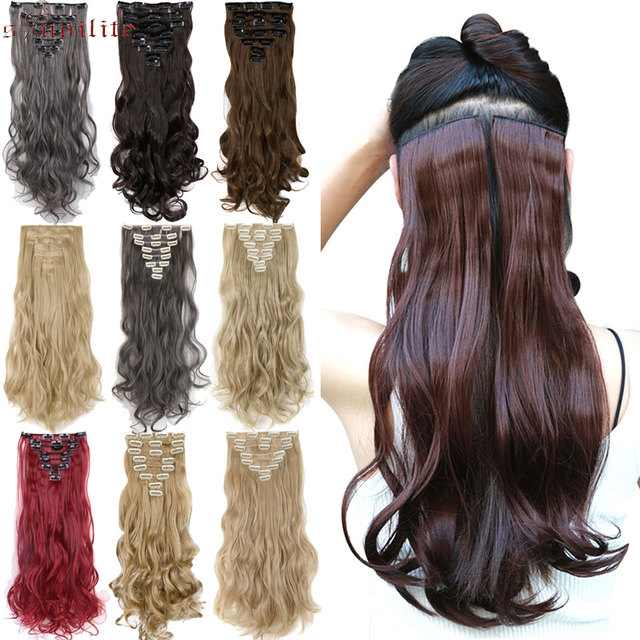 S Noilite 17 8pcs Long Curly Hairpiece Clips In Hair Extension
