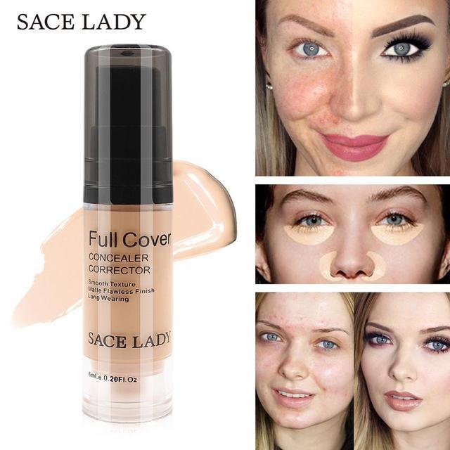 SACE LADY Full Cover 8 Colors Liquid Concealer Makeup 6ml Eye Dark Circles Cream Face Corrector Waterproof Make Up Base Cosmetic