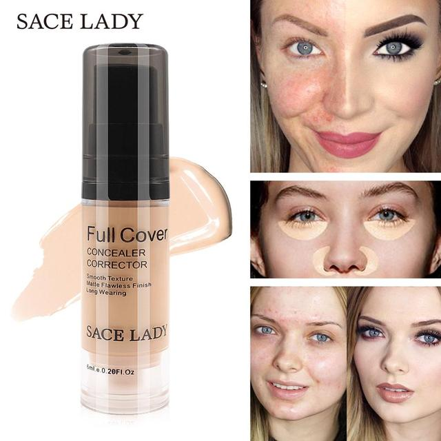 SACE LADY Full Cover 8 Colors Liquid Concealer Makeup 6ml Eye Dark Circles Cream Face Corrector Waterproof Make Up Base Cosmetic